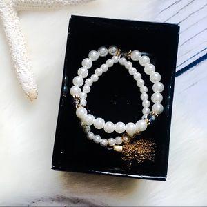 Jewelry - Pearl White • Beaded Golden Tassel Bracelet
